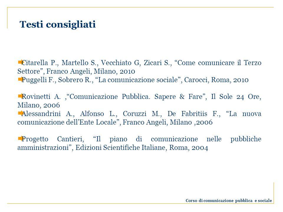Testi consigliati Corso di comunicazione pubblica e sociale Citarella P., Martello S., Vecchiato G, Zicari S., Come comunicare il Terzo Settore, Franc