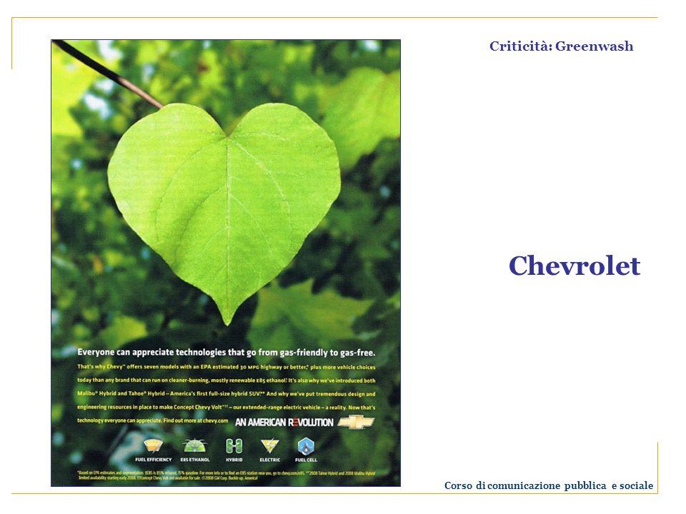 Criticità: Greenwash Chevrolet Corso di comunicazione pubblica e sociale