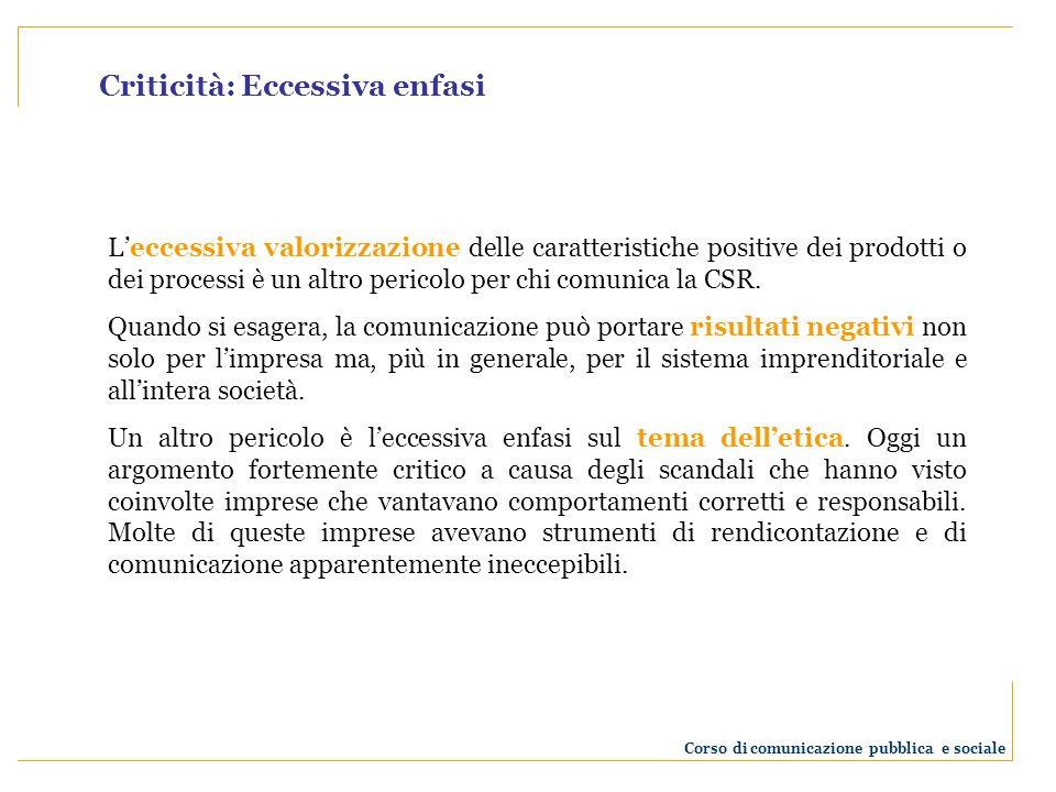Criticità: Eccessiva enfasi Leccessiva valorizzazione delle caratteristiche positive dei prodotti o dei processi è un altro pericolo per chi comunica la CSR.