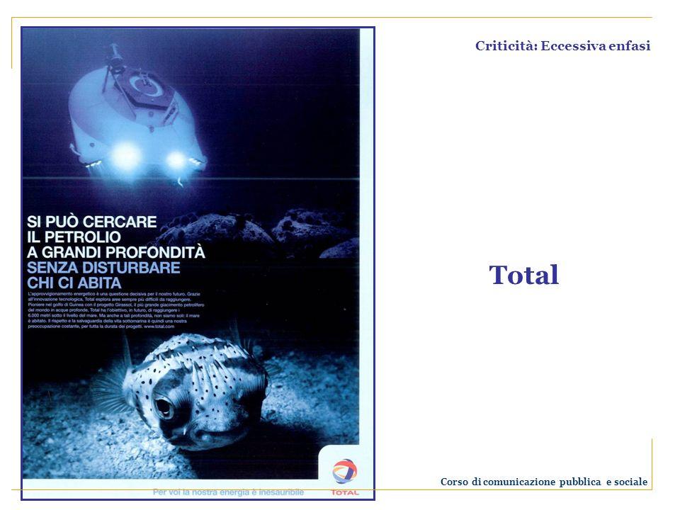 Criticità: Eccessiva enfasi Total Corso di comunicazione pubblica e sociale