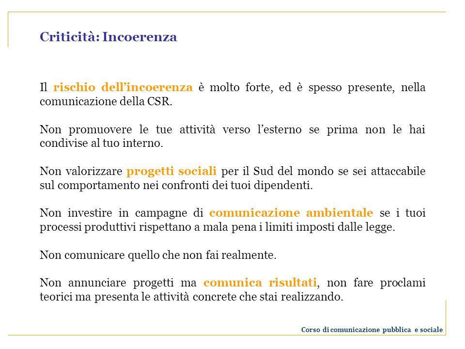 Criticità: Incoerenza Il rischio dellincoerenza è molto forte, ed è spesso presente, nella comunicazione della CSR.