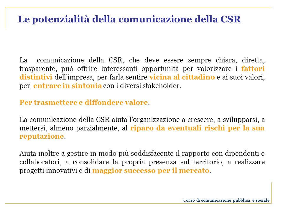 La comunicazione della CSR, che deve essere sempre chiara, diretta, trasparente, può offrire interessanti opportunità per valorizzare i fattori distintivi dellimpresa, per farla sentire vicina al cittadino e ai suoi valori, per entrare in sintonia con i diversi stakeholder.