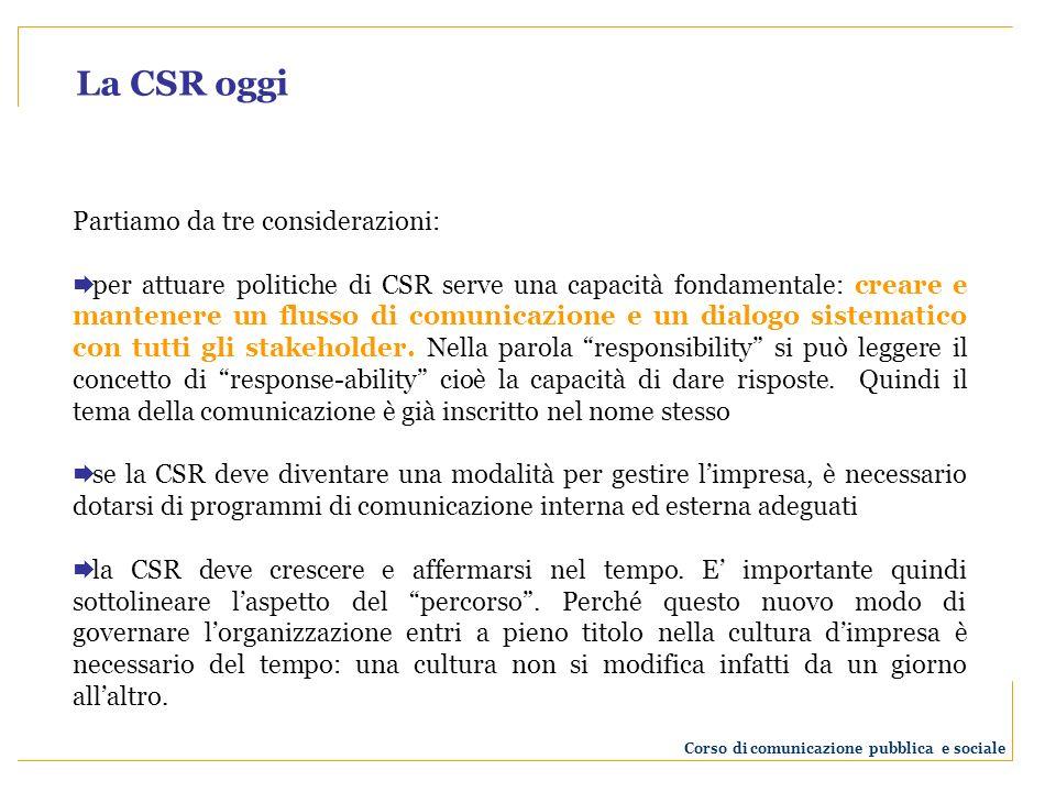 La comunicazione deve essere vista non come strumento tattico ma come elemento strategico per lo sviluppo della CSR.