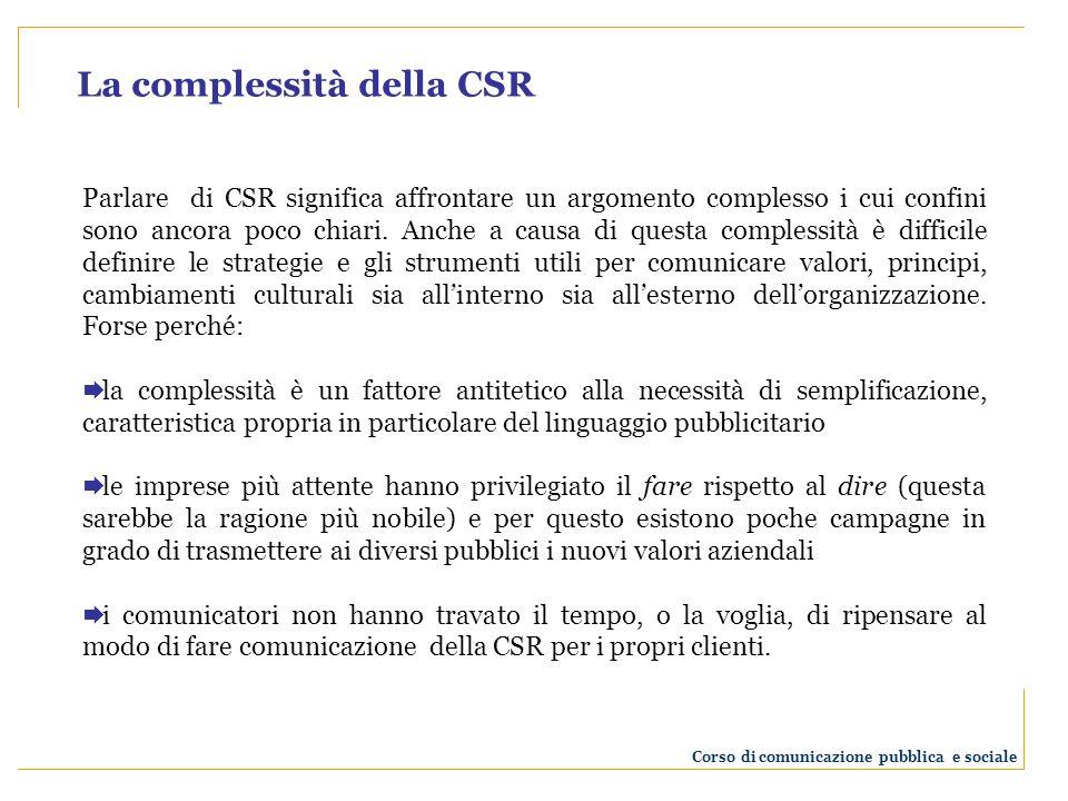 Parlare di CSR significa affrontare un argomento complesso i cui confini sono ancora poco chiari.