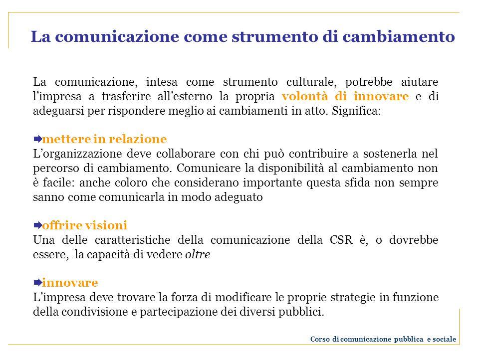 La comunicazione, intesa come strumento di integrazione, potrebbe aiutare limpresa a migliorare le modalità con le quali entra in relazione con i propri pubblici.