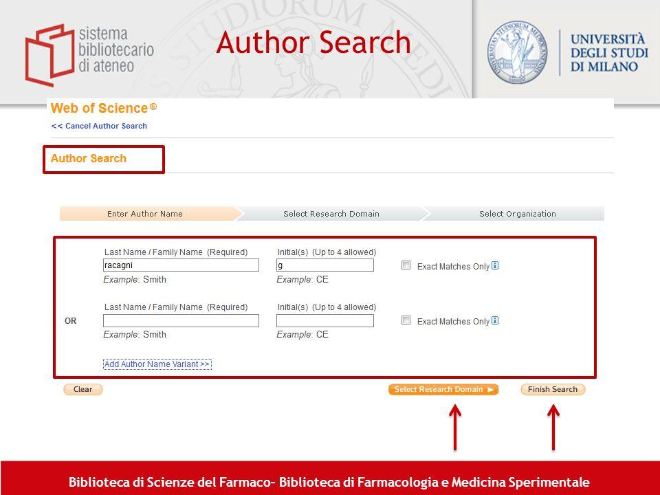 Biblioteca di Scienze del Farmaco– Biblioteca di Farmacologia e Medicina Sperimentale Author Search