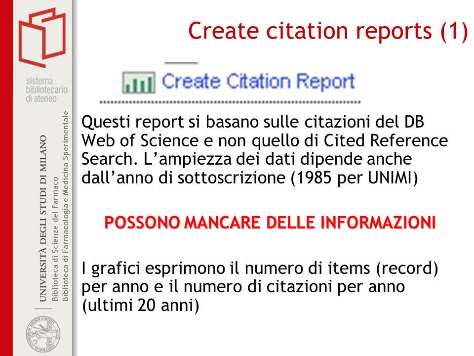 Biblioteca di Scienze del Farmaco Biblioteca di Farmacologia e Medicina Sperimentale Create citation reports (1) Questi report si basano sulle citazioni del DB Web of Science e non quello di Cited Reference Search.