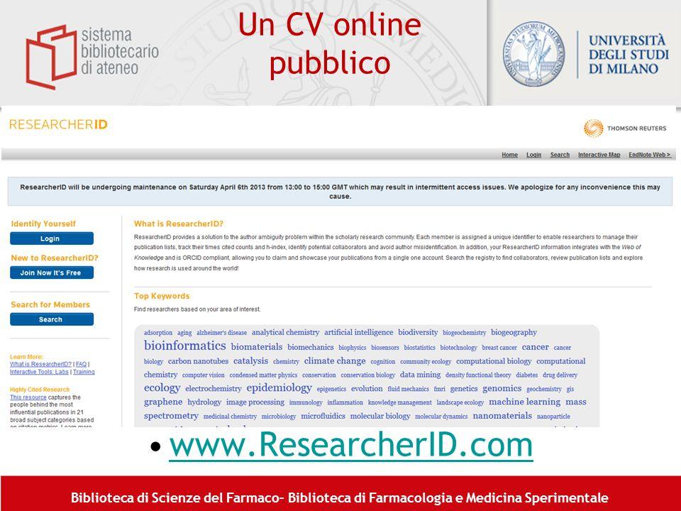 Biblioteca di Scienze del Farmaco– Biblioteca di Farmacologia e Medicina Sperimentale Un CV online pubblico www.ResearcherID.comwww.ResearcherID.com