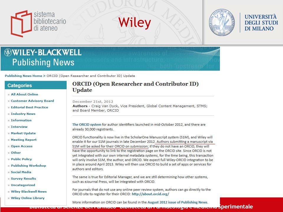 Biblioteca di Scienze del Farmaco– Biblioteca di Farmacologia e Medicina Sperimentale Wiley
