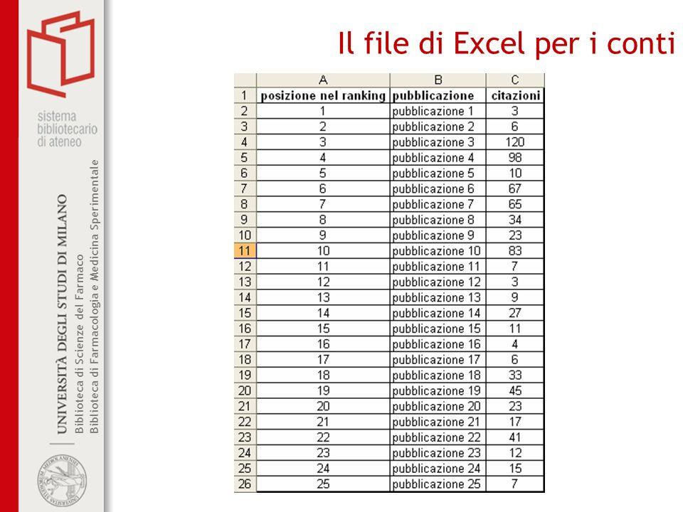 Biblioteca di Scienze del Farmaco Biblioteca di Farmacologia e Medicina Sperimentale Il file di Excel per i conti