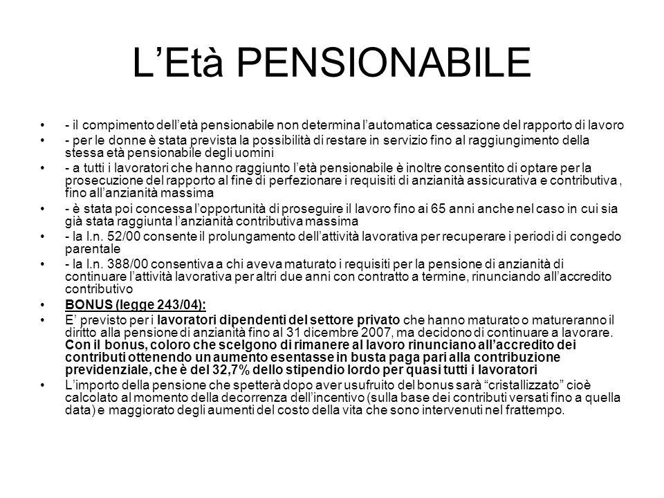 LEtà PENSIONABILE - il compimento delletà pensionabile non determina lautomatica cessazione del rapporto di lavoro - per le donne è stata prevista la