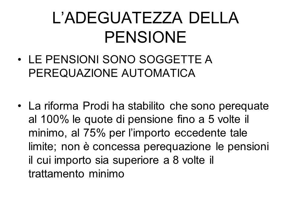 LADEGUATEZZA DELLA PENSIONE LE PENSIONI SONO SOGGETTE A PEREQUAZIONE AUTOMATICA La riforma Prodi ha stabilito che sono perequate al 100% le quote di p