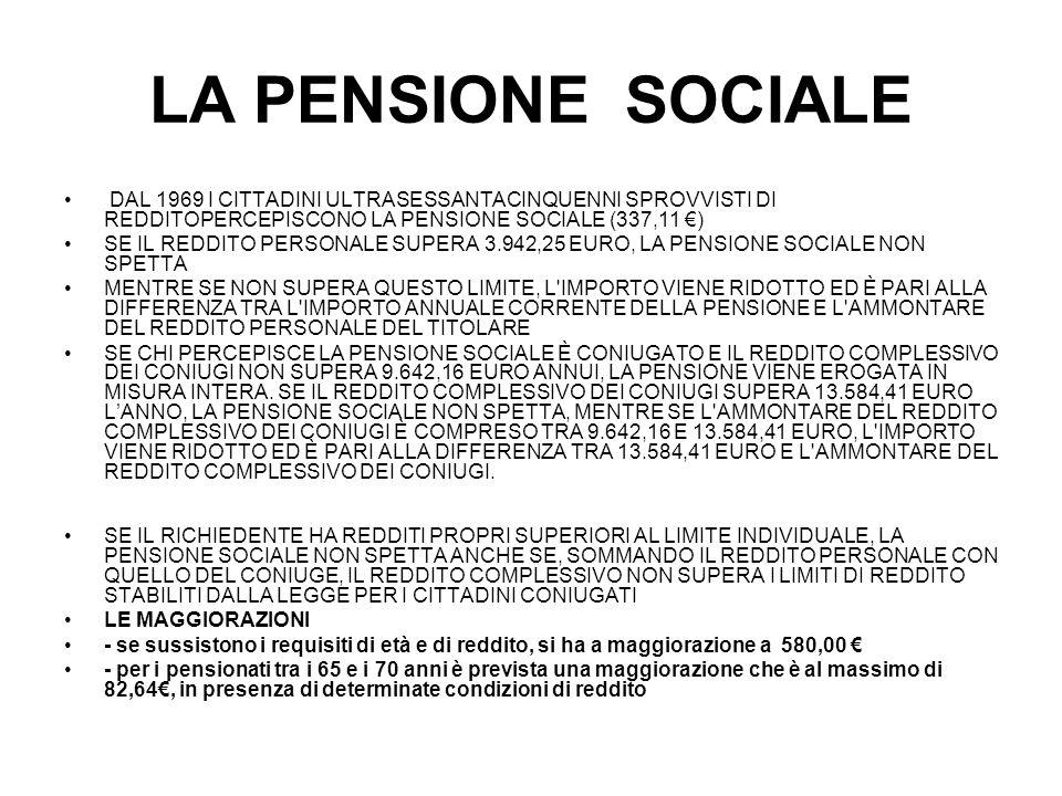 LA PENSIONE SOCIALE DAL 1969 I CITTADINI ULTRASESSANTACINQUENNI SPROVVISTI DI REDDITOPERCEPISCONO LA PENSIONE SOCIALE (337,11 ) SE IL REDDITO PERSONAL