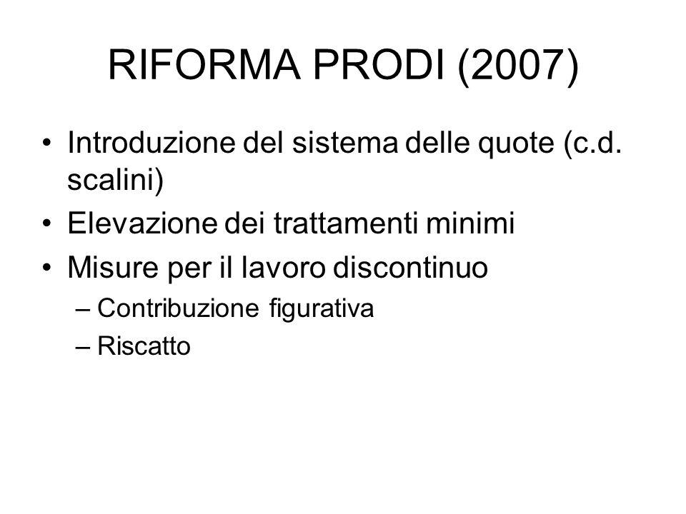 RIFORMA PRODI (2007) Introduzione del sistema delle quote (c.d. scalini) Elevazione dei trattamenti minimi Misure per il lavoro discontinuo –Contribuz
