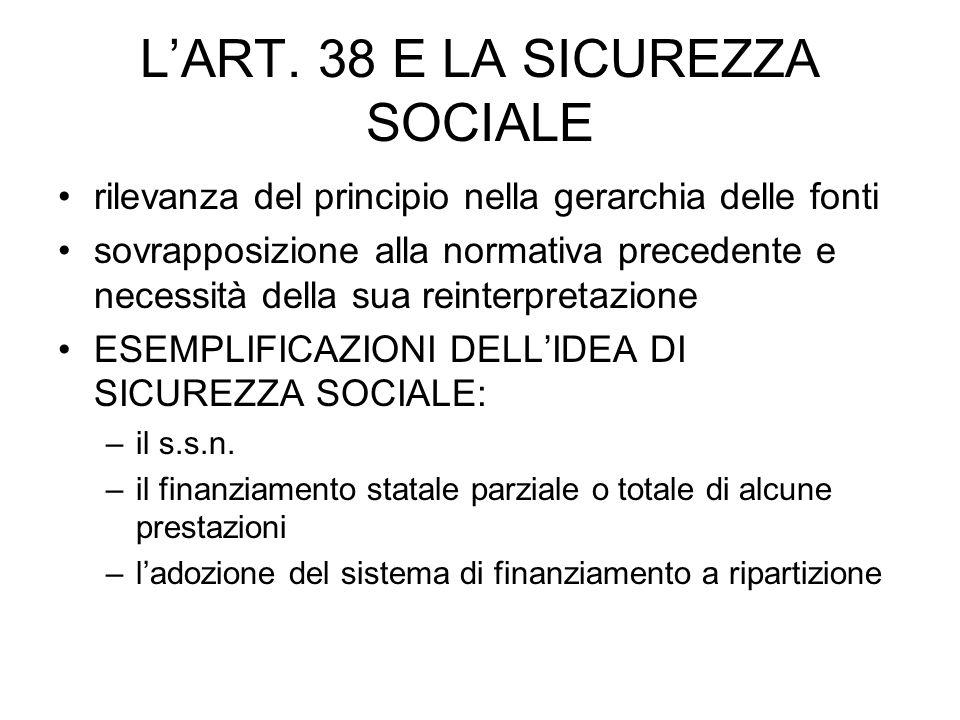 LART. 38 E LA SICUREZZA SOCIALE rilevanza del principio nella gerarchia delle fonti sovrapposizione alla normativa precedente e necessità della sua re