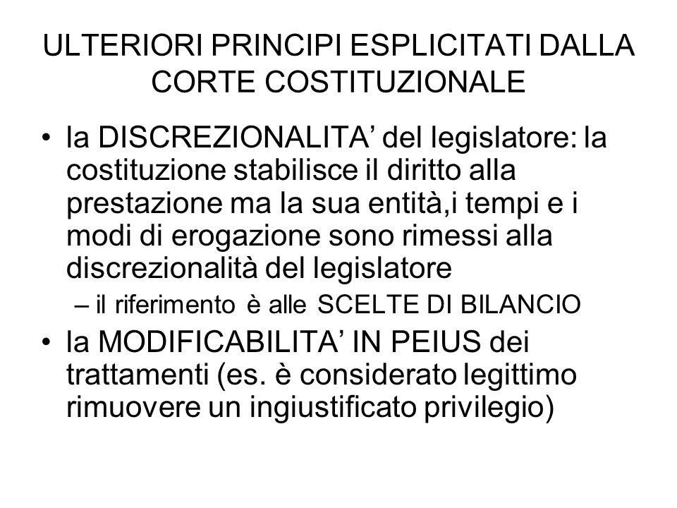 ULTERIORI PRINCIPI ESPLICITATI DALLA CORTE COSTITUZIONALE la DISCREZIONALITA del legislatore: la costituzione stabilisce il diritto alla prestazione m
