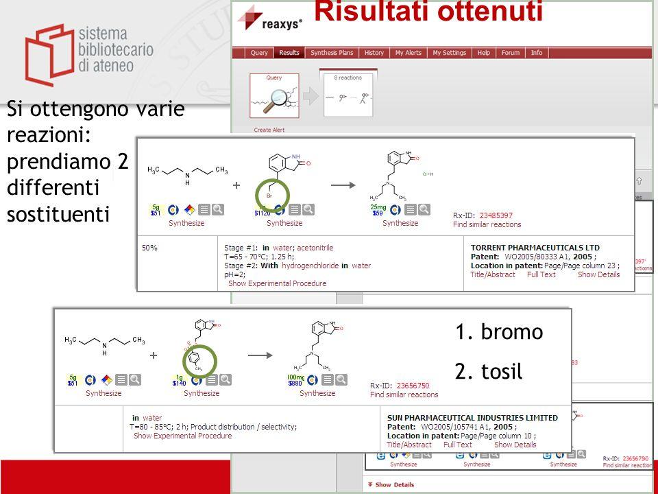 Biblioteca centrale di Farmacia Si ottengono varie reazioni: prendiamo 2 differenti sostituenti Risultati ottenuti 1. bromo 2. tosil