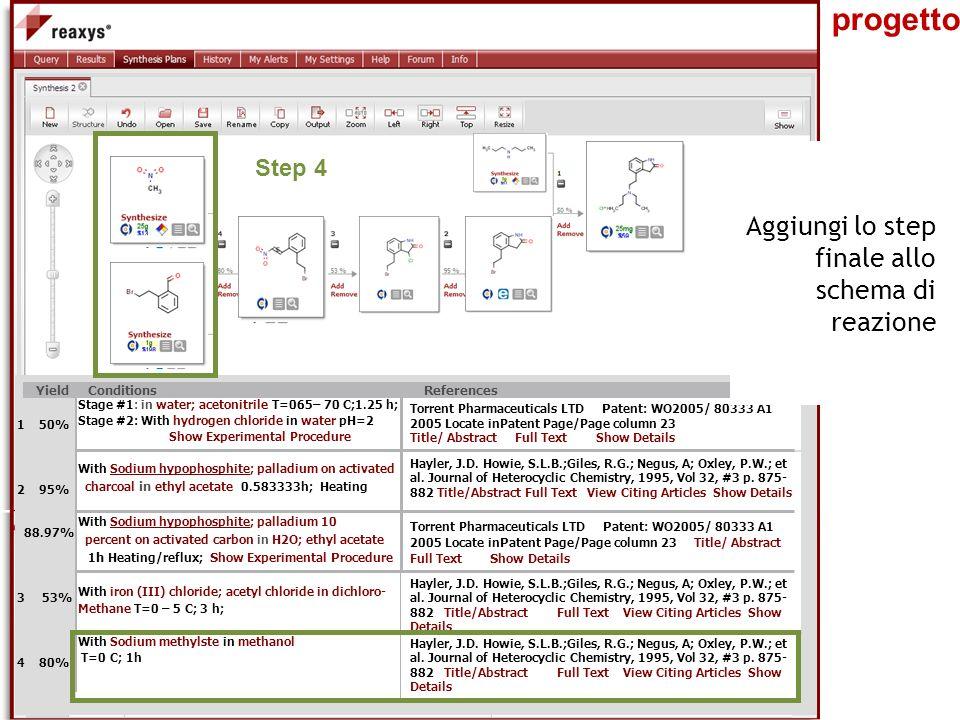 Biblioteca centrale di Farmacia Il progetto Stage #1: in water; acetonitrile T=065– 70 C;1.25 h; Stage #2: With hydrogen chloride in water pH=2 Show E