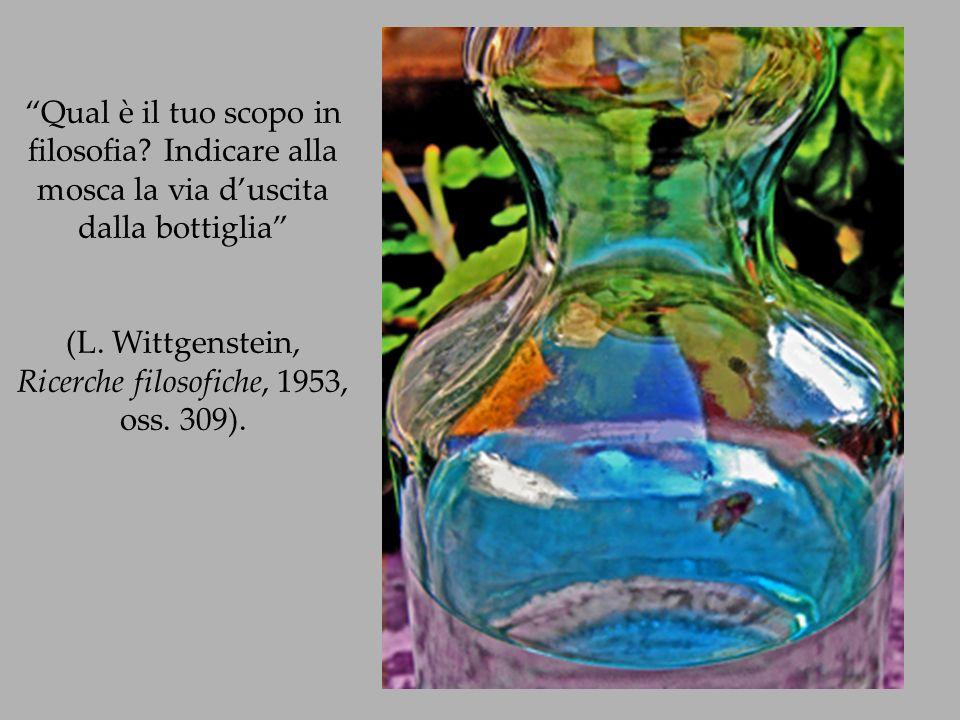 Qual è il tuo scopo in filosofia? Indicare alla mosca la via duscita dalla bottiglia (L. Wittgenstein, Ricerche filosofiche, 1953, oss. 309).