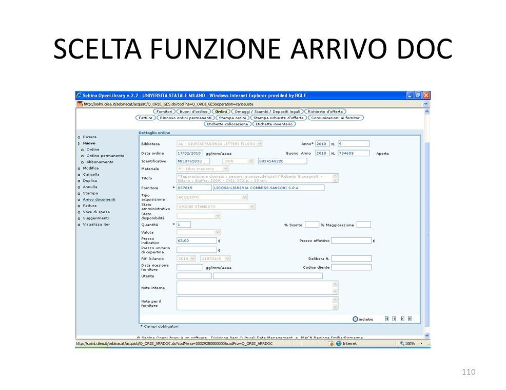 SCELTA FUNZIONE ARRIVO DOC 110