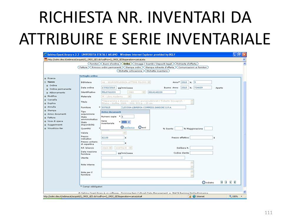 RICHIESTA NR. INVENTARI DA ATTRIBUIRE E SERIE INVENTARIALE 111