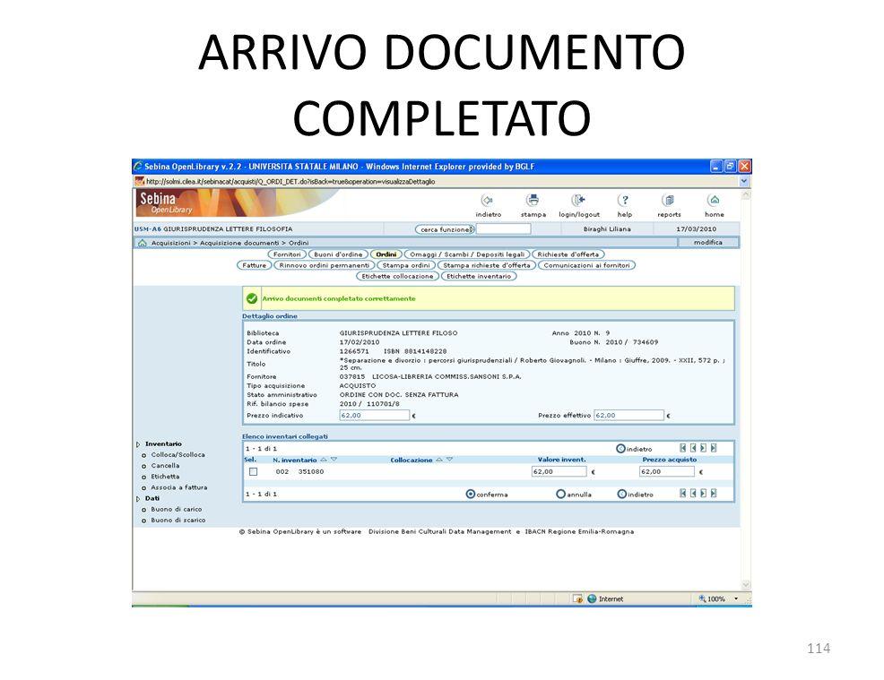 ARRIVO DOCUMENTO COMPLETATO 114