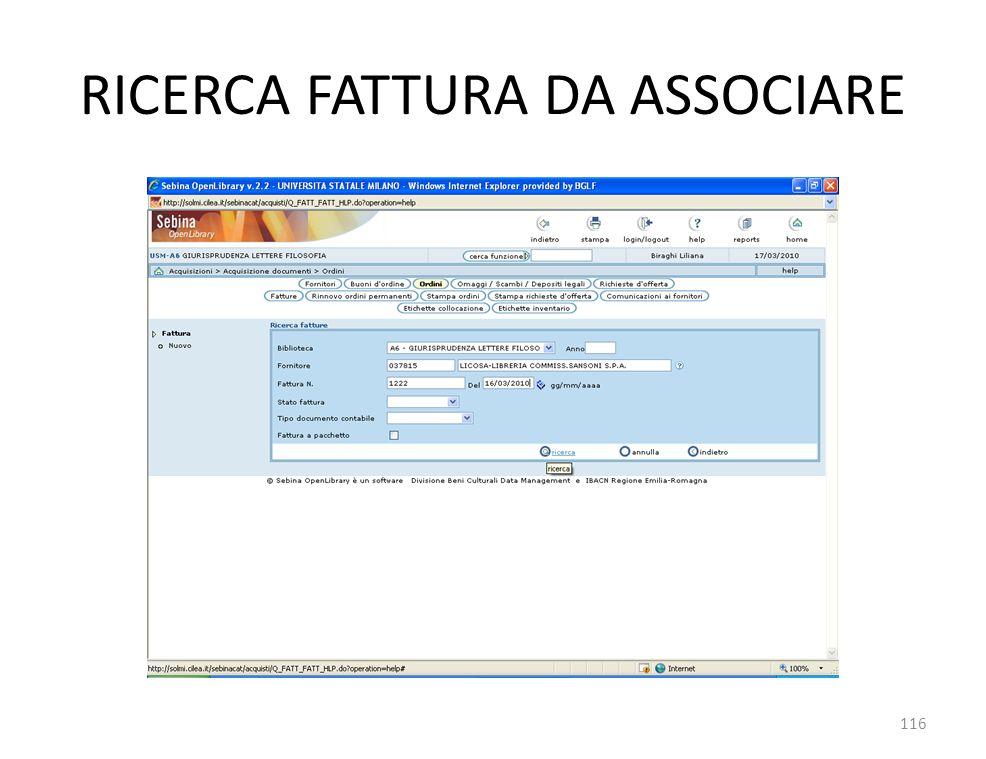 RICERCA FATTURA DA ASSOCIARE 116