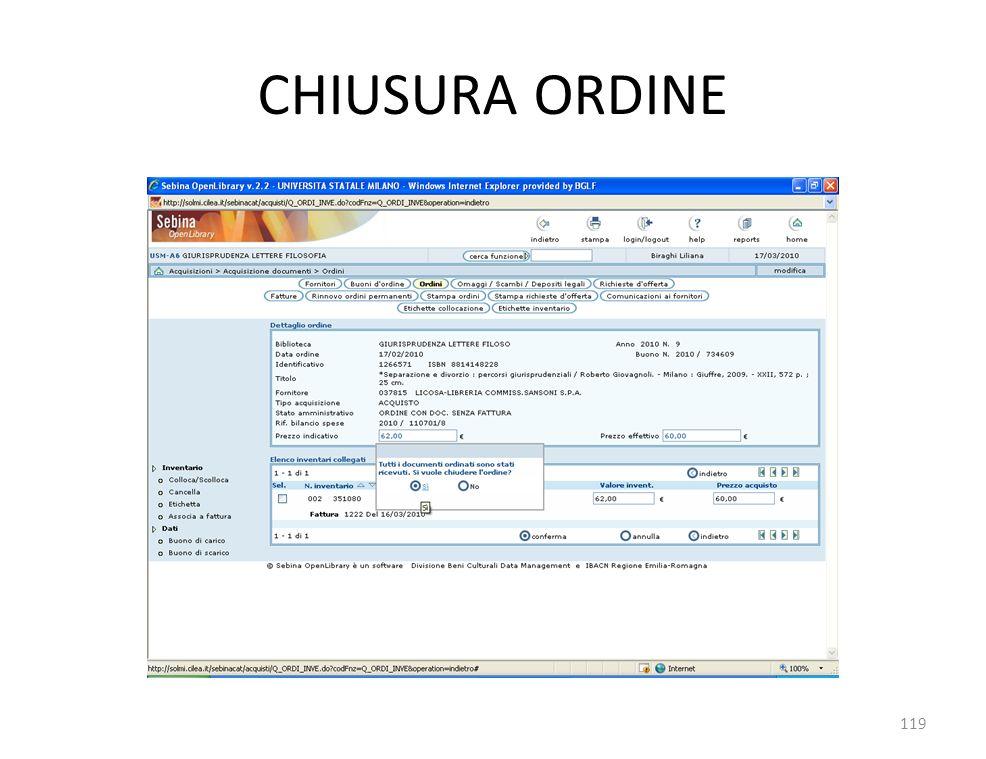 CHIUSURA ORDINE 119