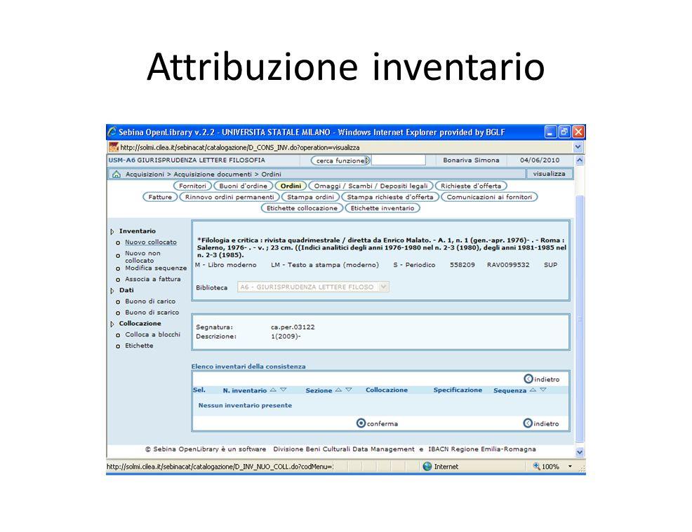 Attribuzione inventario
