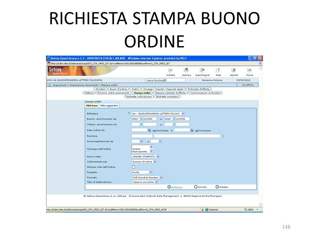 RICHIESTA STAMPA BUONO ORDINE 148