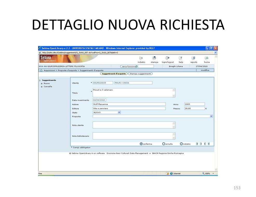 DETTAGLIO NUOVA RICHIESTA 153