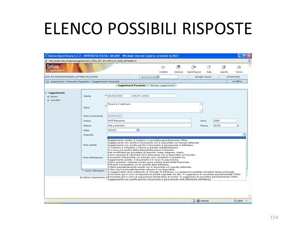 ELENCO POSSIBILI RISPOSTE 154