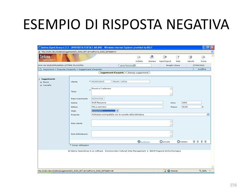 ESEMPIO DI RISPOSTA NEGATIVA 156