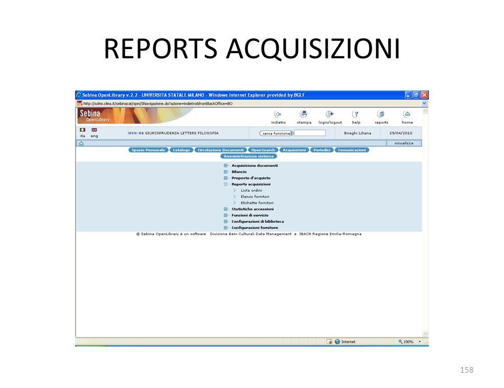 REPORTS ACQUISIZIONI 158