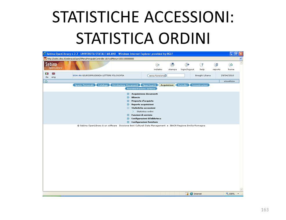 STATISTICHE ACCESSIONI: STATISTICA ORDINI 163
