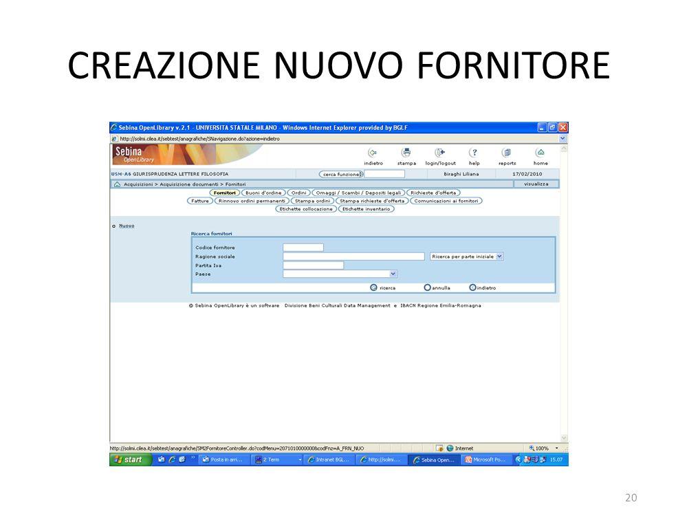 CREAZIONE NUOVO FORNITORE 20