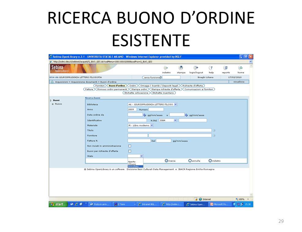 RICERCA BUONO DORDINE ESISTENTE 29
