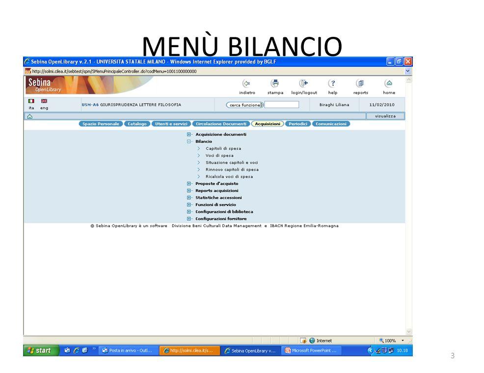 MENÙ BILANCIO 3
