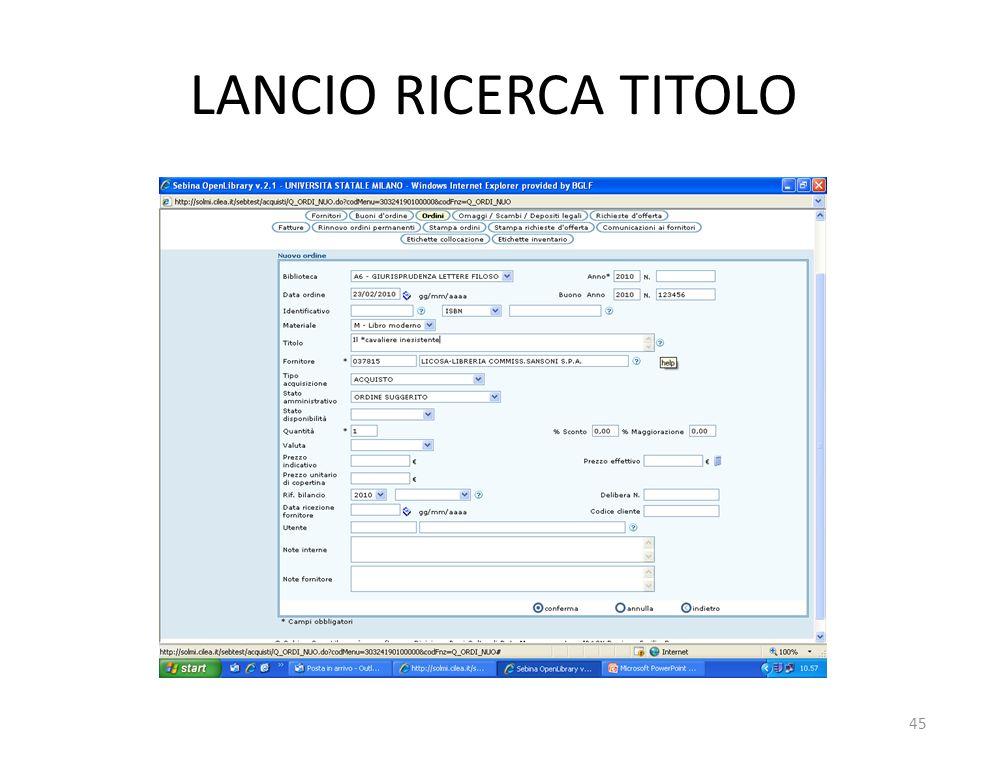 LANCIO RICERCA TITOLO 45