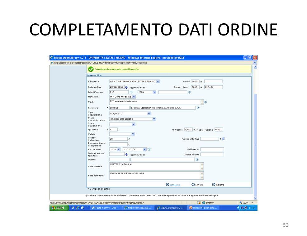 COMPLETAMENTO DATI ORDINE 52