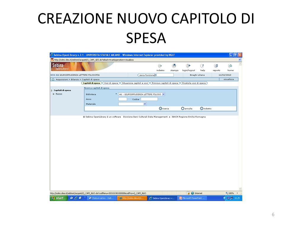 CREAZIONE NUOVO CAPITOLO DI SPESA 6