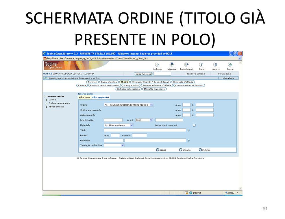 SCHERMATA ORDINE (TITOLO GIÀ PRESENTE IN POLO) 61