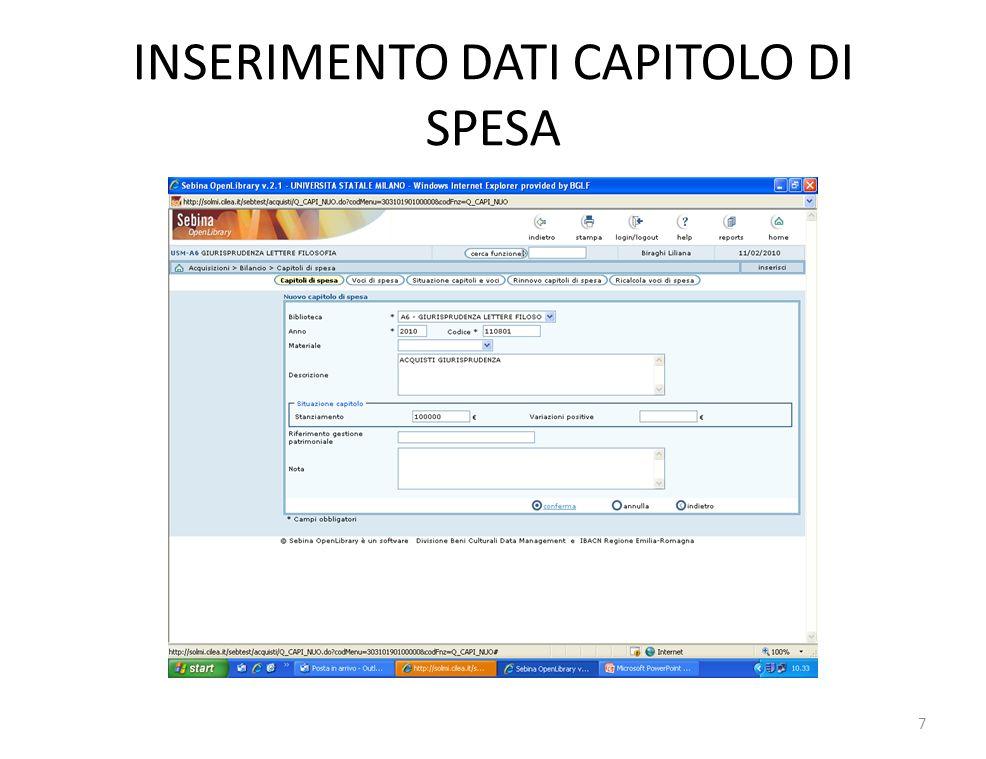 INSERIMENTO DATI CAPITOLO DI SPESA 7