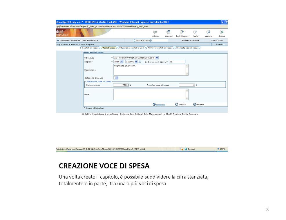 CREAZIONE VOCE DI SPESA Una volta creato il capitolo, è possibile suddividere la cifra stanziata, totalmente o in parte, tra una o più voci di spesa.