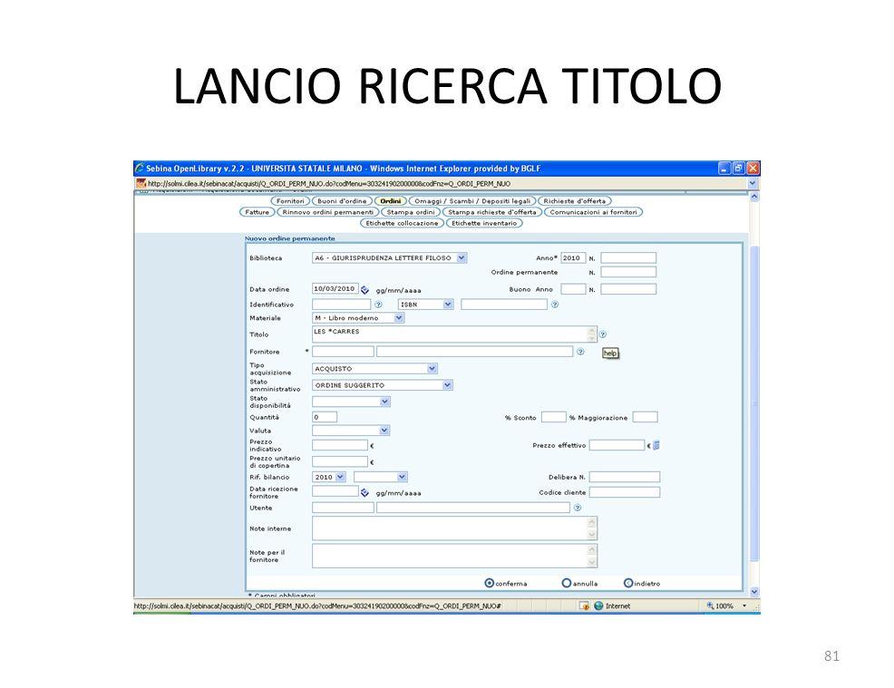 LANCIO RICERCA TITOLO 81