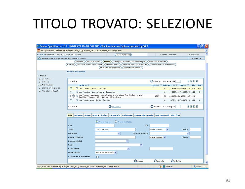 TITOLO TROVATO: SELEZIONE 82