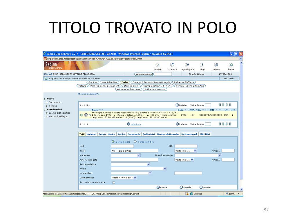 TITOLO TROVATO IN POLO 87