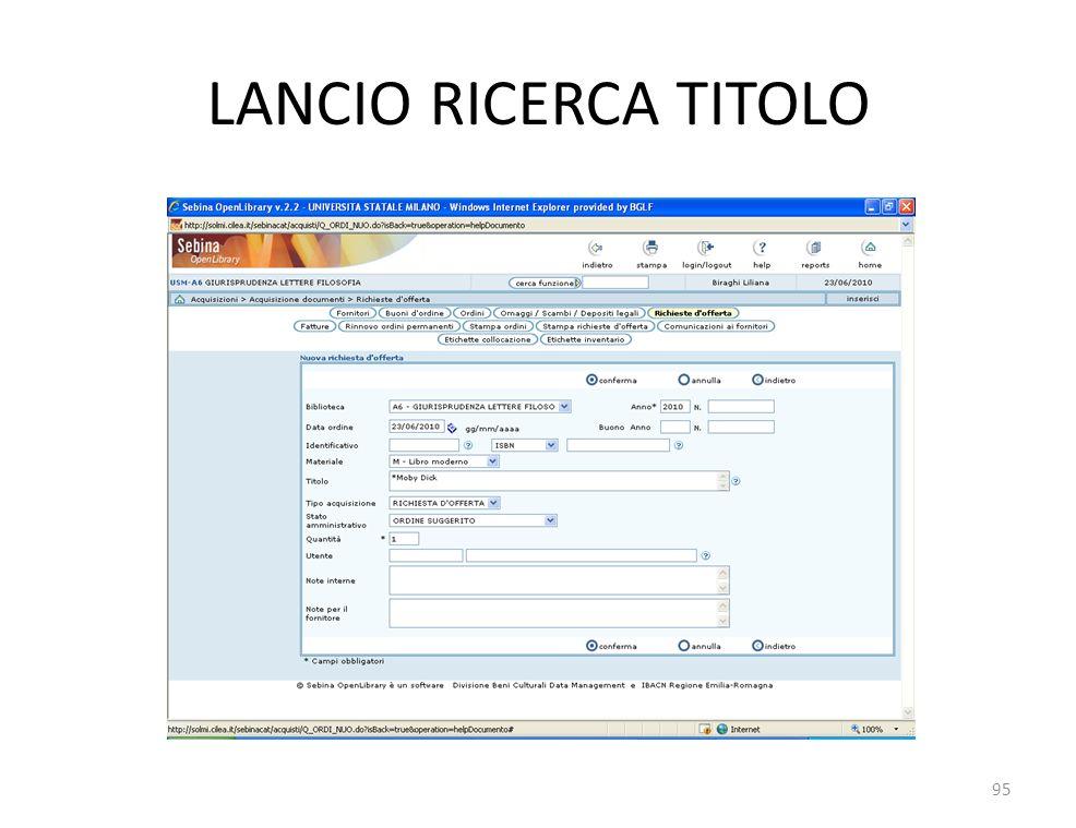 LANCIO RICERCA TITOLO 95