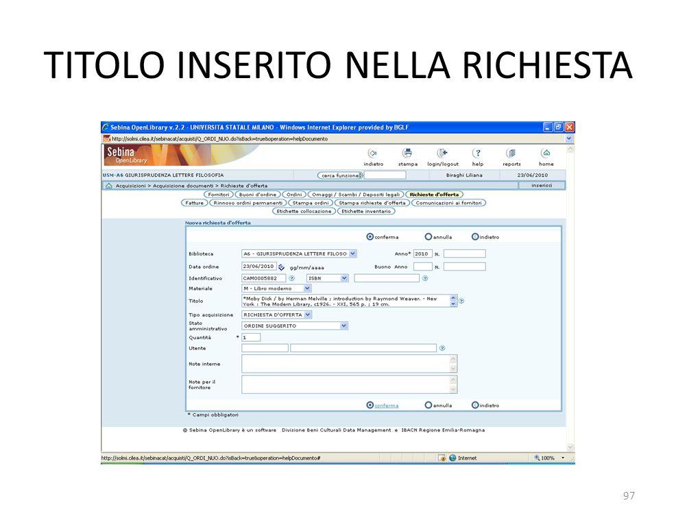TITOLO INSERITO NELLA RICHIESTA 97