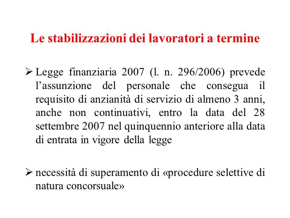 Le stabilizzazioni dei lavoratori a termine Legge finanziaria 2007 (l. n. 296/2006) prevede lassunzione del personale che consegua il requisito di anz